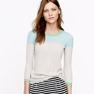 J. Crew Featherweight Cashmere Colorblock Sweater